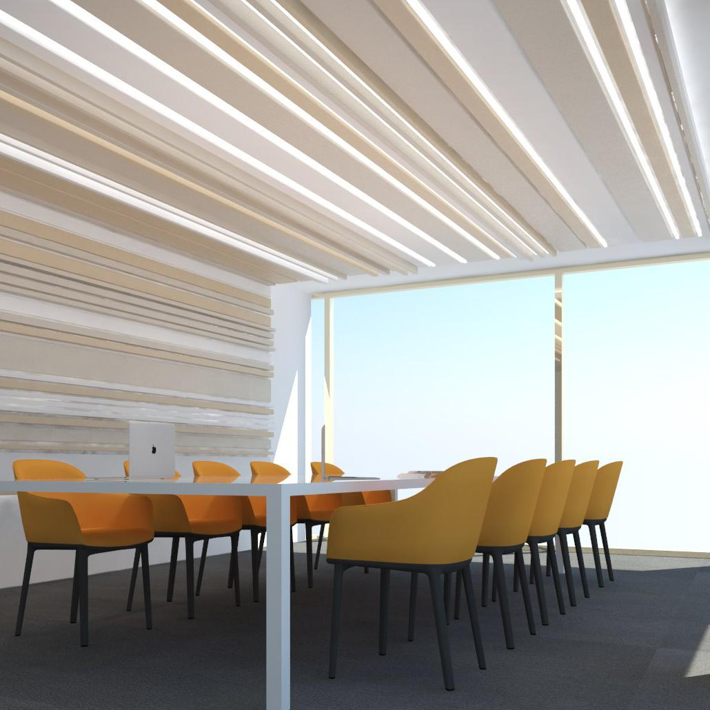 Stoal lineair plafondsysteem, Slimline LED lightlines, met opale cover, lijnenspel, 3D-effect
