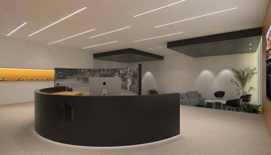 Slimline led verlichting met opale cover, Stoal clip-in systeemplafond, onzichtbare ophanging